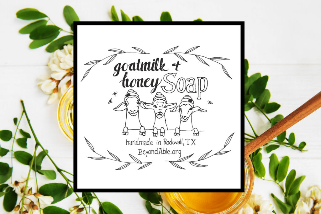 Goat Milk and Honey Soap Label- Three cute baby goats with beanie hats that look like hives and bees flying around
